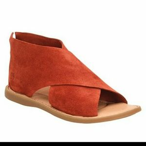 Iwa born red suede sandals left shoe 6.  Right 7
